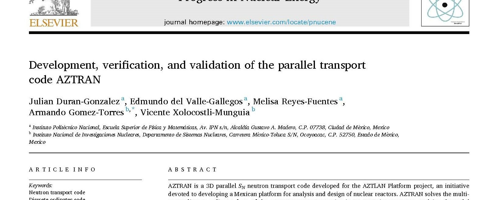 Development, verification, and validation of the parallel transport code AZTRAN